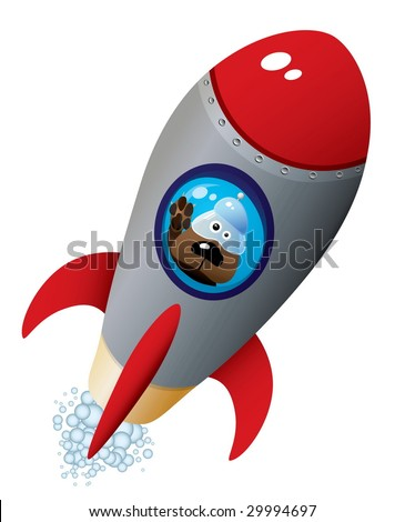 Cartoon Dog Astronaut In Old Style Spaceship - stock vector
