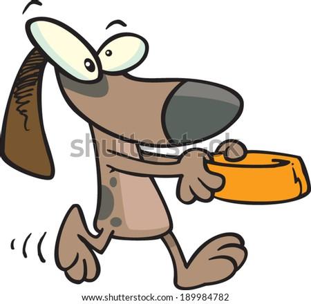 cartoon dog carrying his bowl - stock vector