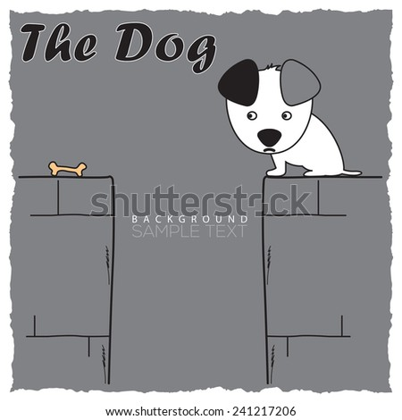 cartoon dog looking at bone card vector illustration - stock vector