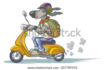 Cartoon Dog on Scooter. Updated version.