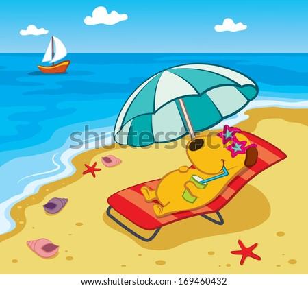 Cartoon Dog on the Beach - stock vector