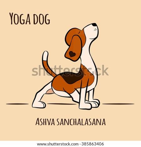cartoon dog shows yoga pose urdhva stock vector 385786849