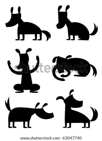 Cartoon Dog Silhouette - vector - stock vector
