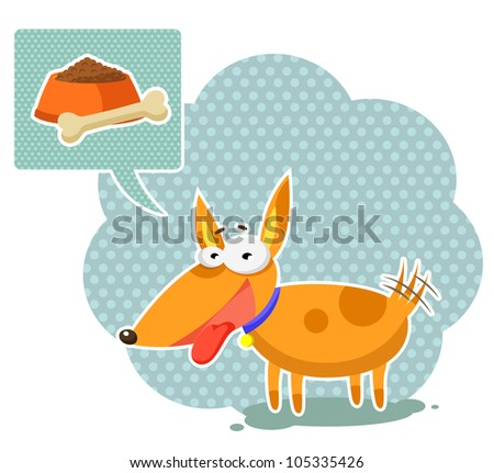 cartoon dog thinking about food (JPEG version available in my gallery)) - stock vector