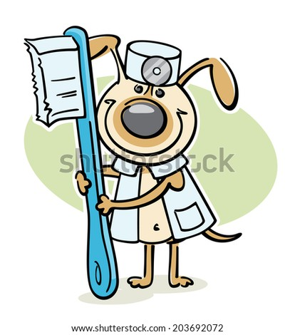 cartoon dog - veterinarian character with toothbrush - stock vector