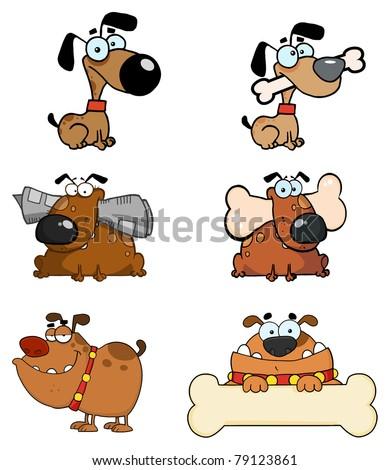 Cartoon Dogs Raster Collection - stock vector