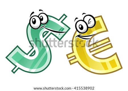 Cartoon dollar and euro