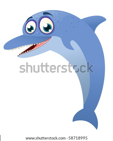 Cartoon dolphin character - stock vector