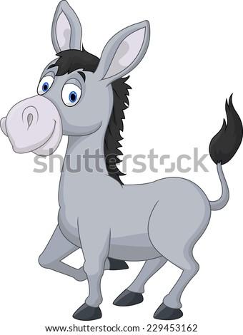 Cartoon donkey - stock vector