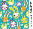 Cartoon doodle background with colorful bunnies. - stock vector