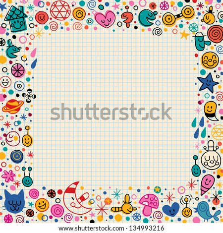 cartoon doodle border - stock vector
