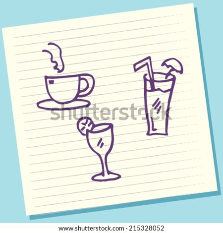 Cartoon Doodle Drinking Glasses Sketch Vector Illustration - stock vector