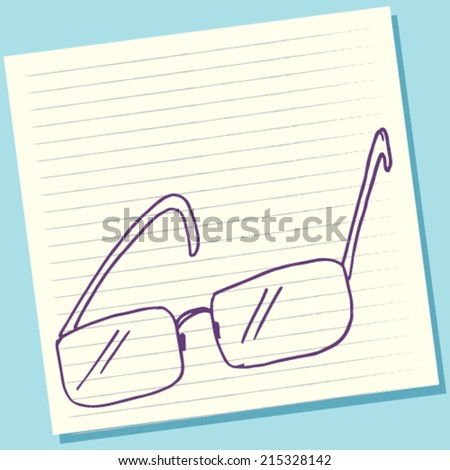 Cartoon Doodle Eyeglasses Sketch Vector Illustration - stock vector