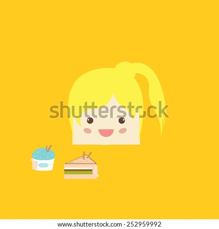 cartoon doodle girl rectangle like cake, vector illustration - stock vector
