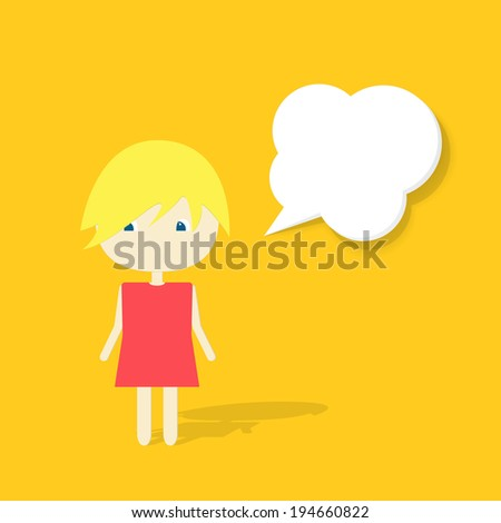 cartoon doodle girl witch speech bubble - stock vector