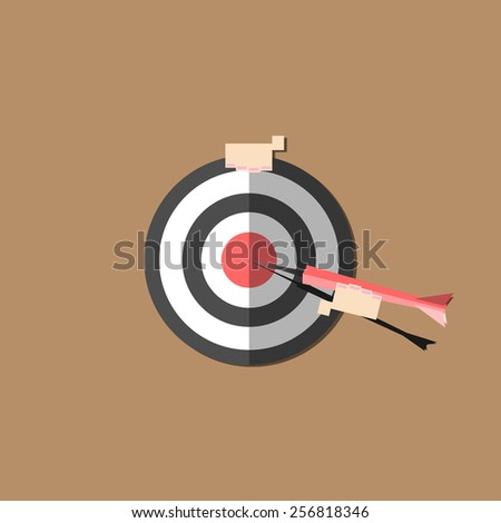 Cartoon doodle hand are target. vector illustration