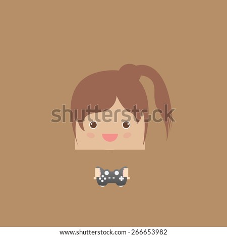 cartoon doodle lady rectangle play games, vector illustration - stock vector