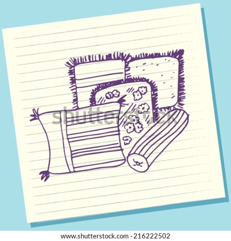 Cartoon Doodle Pillow Sketch Vector Illustration - stock vector