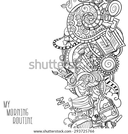 cartoon doodles, hand drawn everyday morning things - stock vector