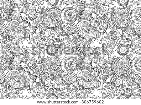 cartoon doodles, hand drawn everyday morning things, seamless - stock vector