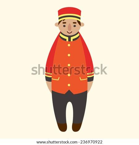 cartoon doorman vector illustration - stock vector