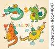 Cartoon dragons in vector. 2012 symbol - stock photo