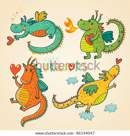 Cartoon dragons in vector. 2012 symbol - stock vector