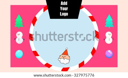 Cartoon drawing Merry Christmas Happy Holiday Season's greeting gift card. Editable logo banner and blank board placeholder. Movable Isolated tree, snowman, Santa Claus and candy cane frame decoration - stock vector