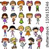 Cartoon drawings of fashionable children - stock vector