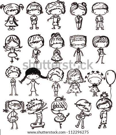 Cartoon Drawings Fashionable Children Stock Vector 112296275 ...