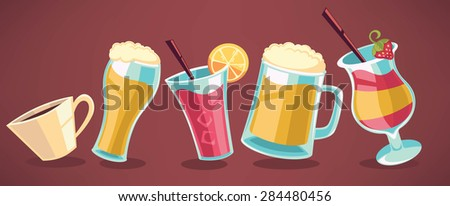 cartoon drinks collection for your menu - stock vector