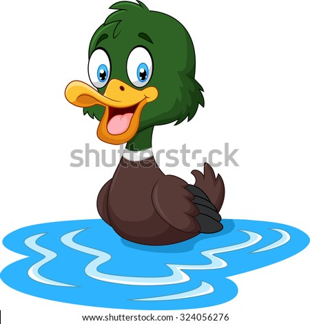 Cartoon ducks floats on water - stock vector