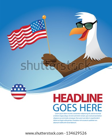 Cartoon Eagle background template. EPS 8 vector, grouped for easy editing. No open shapes or paths. - stock vector
