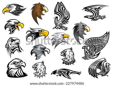 Cartoon eagle, falcon and hawk heads in profile for mascot, tattoo or logo design isolated on white background, vector illustration - stock vector