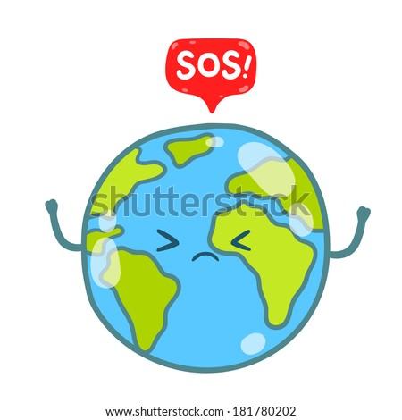 Cartoon Earth globe with speech bubble and SOS message - stock vector