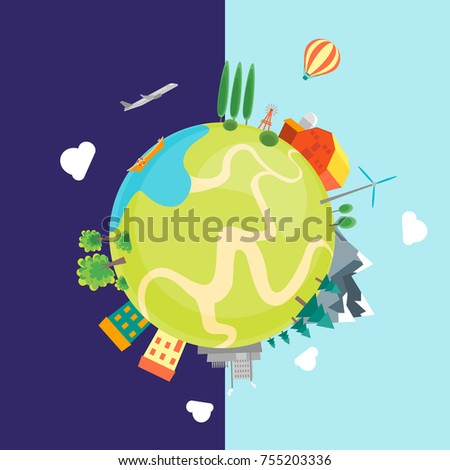 Cartoon Earth with Houses, Mountains, Forests and Factories Flat Style DesignDay and Night Concept Vector illustration