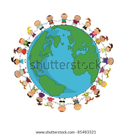 cartoon earth with kids. - stock vector