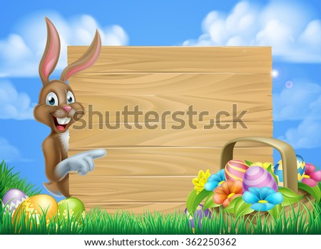 Cartoon easter background of Easter bunny and Easter basket full of decorated chocolate Easter eggs and a big sign - stock vector