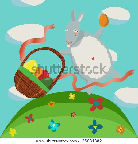 Cartoon Easter bunny with a basket full of eggs on the meadow