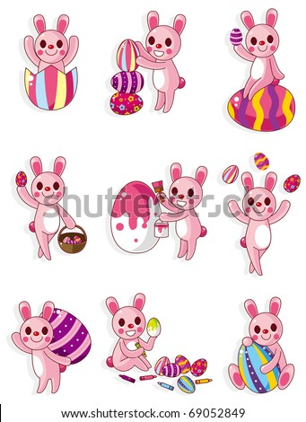 cartoon easter rabbit and egg icon - stock vector