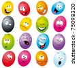 cartoon eggs with many expressions - stock vector