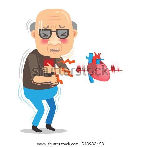 cartoon elderly man chest pain large stock vector royalty