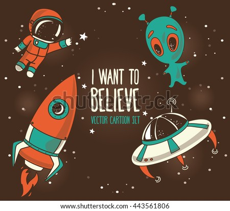 Cartoon elements for cosmic design: astronauts floating in space, cute alien and rocket, vector illustration