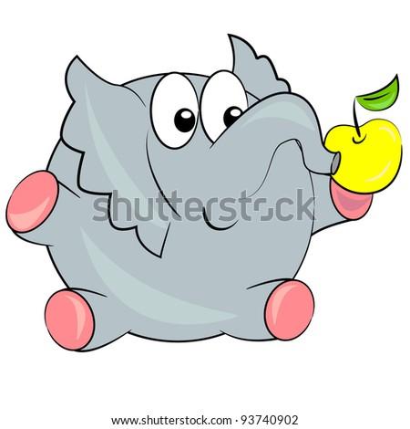 Elephant Eating Food Cartoon Elephant Eating Apple