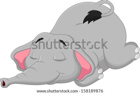 Cartoon elephant sleeping - stock vector