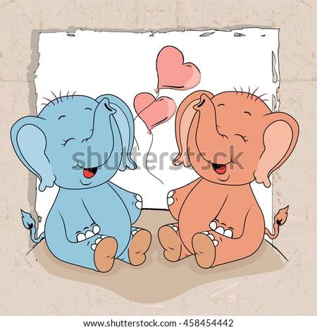 cartoon elephants with gift - stock vector
