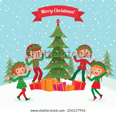 Cartoon elves having fun at Christmas party/Elves and Christmas tree/Illustration of little elves having fun at the Christmas party - stock vector