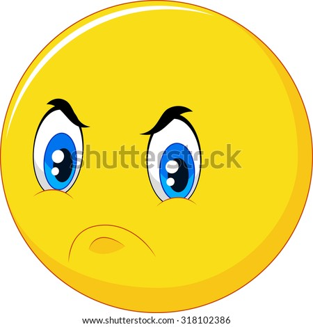 Cartoon emoticon with angry face on white background - stock vector