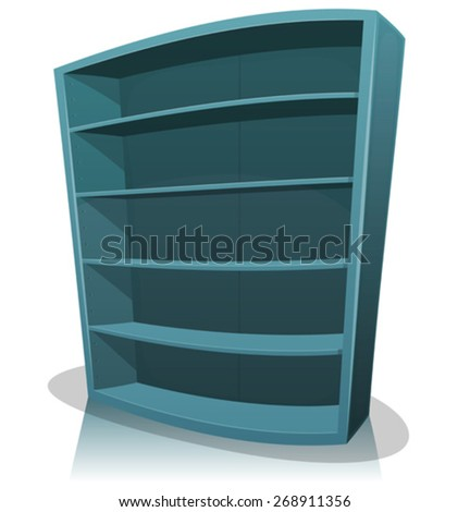 Cartoon Empty Library Bookshelf/ Illustration of a cartoon home, office, school or library blue store wooden bookshelf, empty - stock vector