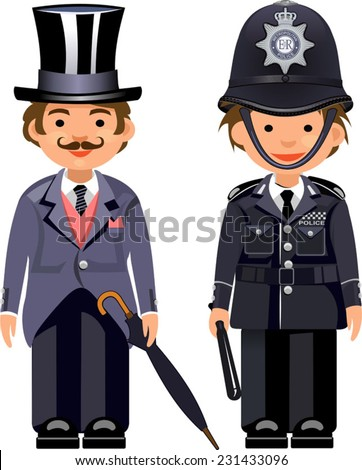 Cartoon english gentleman & British metropolitan police officers. Traditional authentic helmet  - stock vector